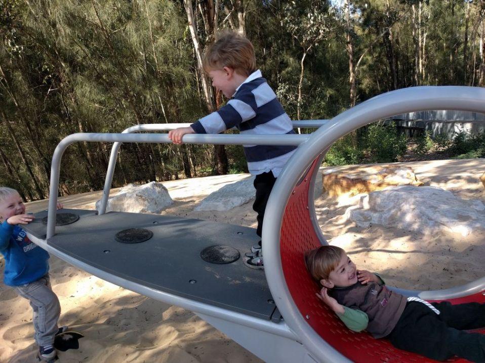 Domain Creek Playground: walking see saw
