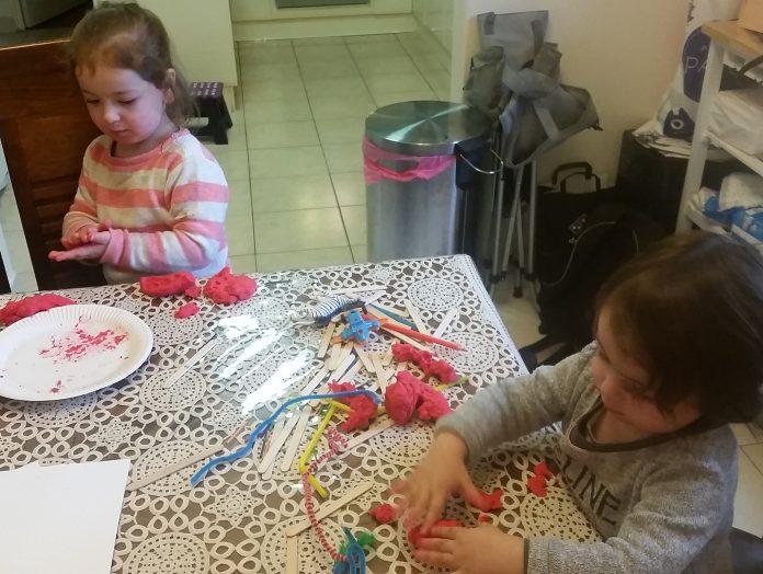 Playdough Recipe. Kids Playing with playdough