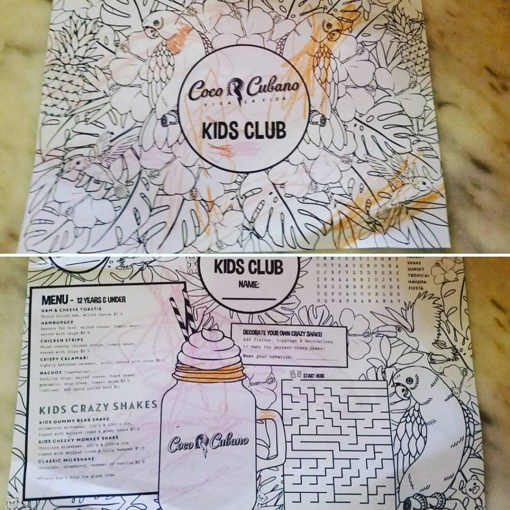 Coco Cubano menu/ colouring in