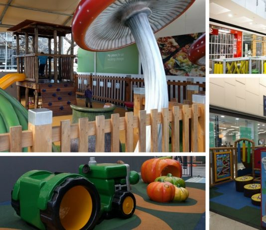 Shopping centres with free play areas