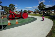harold moon reserve playground auburn near parramatta with bike scooter track rotating seesaw steamroller car basketball court swings picnic shelters bbq toilets construction theme playground for preschoolers