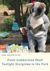 Twilight Story Time in the Park with Poppy the Possum | Cumberland Council @ Various - Merrylands, Granville, Auburn and Pendle Hill
