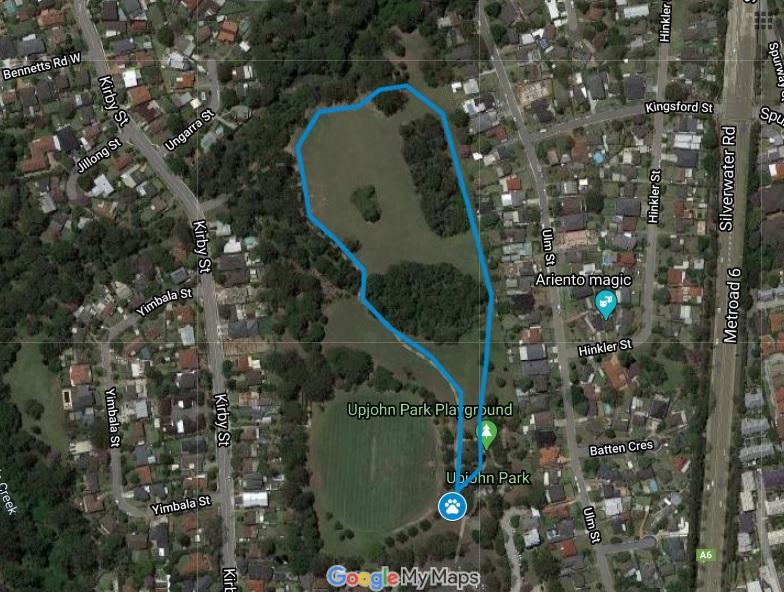 walking trail bluey map upjohn park