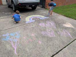 Chalk Art coronavirus easter