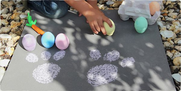 Easter Guide bunny footprints chalk