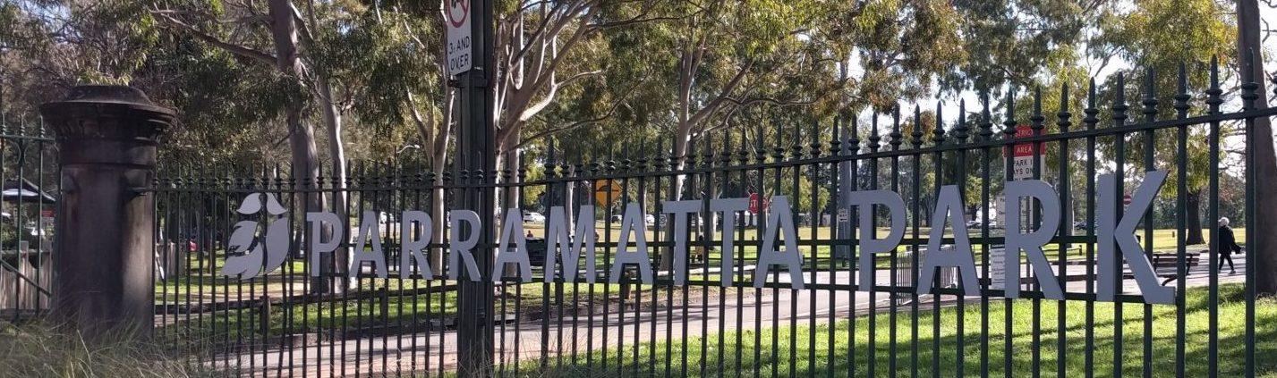 Domain Creek Playground: Parramatta Park entrance