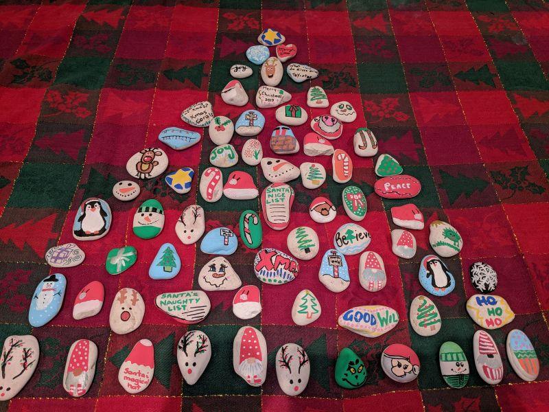 Christmas kindness painted rocks