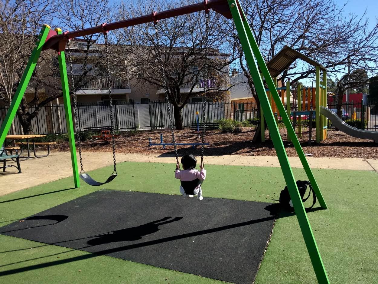 bill thomson reserve parramatta playground near a bus stop victoria road bucket swings