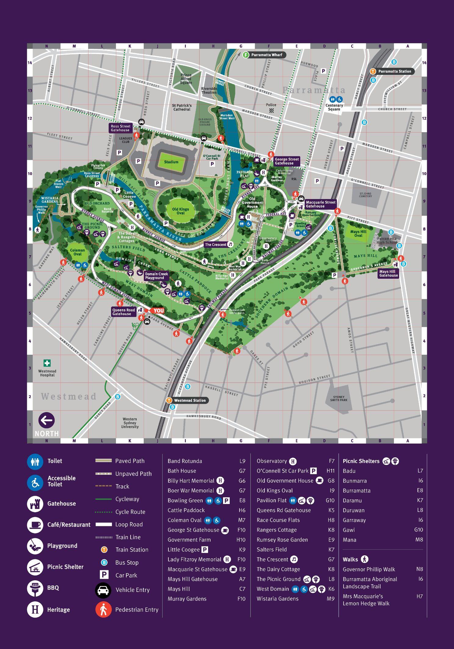 Parramatta Park Map